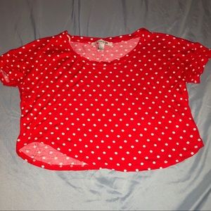 Tops - Red with white polka dot crop top, size small